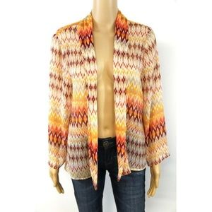 Chico's Sweaters - Chico's Cardigan Orange Open Front Sheer